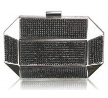 Psaníčko Black Rhinestone Studded Hard Box Bridal clutch bag