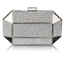Psaníčko Silver Rhinestone Studded Hard Box Bridal clutch bag