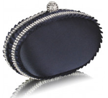 Psaníčko Navy Satin Clutch Bag With Crystal Decoration