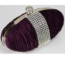 Psaníčko Purple Ruched Satin Clutch With Crystal Trim