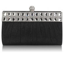Psaníčko Black Ruched Satin Clutch With Crystal Decoration - černé