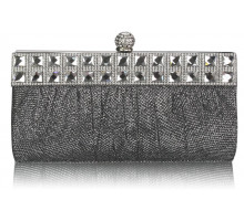 Psaníčko Black/Silver Ruched Satin Clutch With Crystal Decoration
