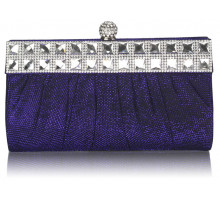 Psaníčko Blue Ruched Satin Clutch With Crystal Decoration