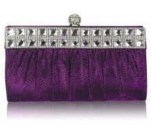 Psaníčko Purple Ruched Satin Clutch With Crystal Decoration