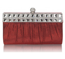 Psaníčko Red Ruched Satin Clutch With Crystal Decoration