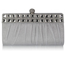 Psaníčko White Ruched Satin Clutch With Crystal Decoration