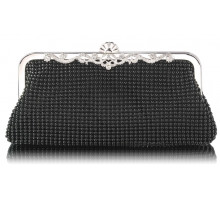 Psaníčko Black Beaded Crystal Cluth Bag - černé