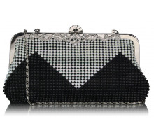 Psaníčko Black/White Beaded Crystal Cluth Bag