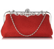 Psaníčko Red Beaded Crystal Cluth Bag - červené