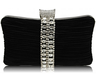 Psaníčko Gorgeous Black Crystal Strip Clutch Evening Bag - černé