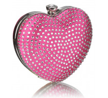 Psaníčko Pink Diamante Hardcase Heart Clutch Bag