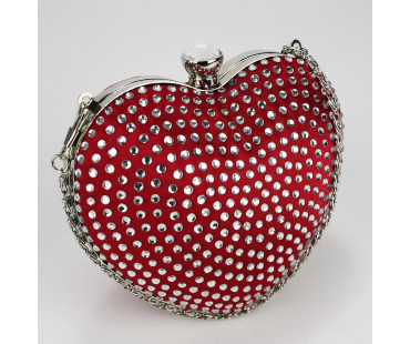Psaníčko Red Diamante Hardcase Heart Clutch Bag - červené
