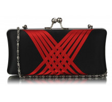 Psaníčko Black / Red Satin Evening Clutch Bag