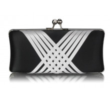 Psaníčko Black / White Satin Evening Clutch Bag