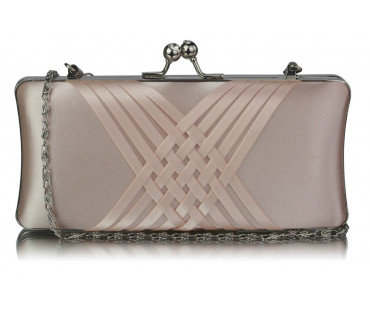Kabelka Nude Satin Evening Clutch Bag