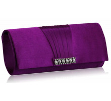 Psaníčko Purple Crystal Satin Clutch purse - fialová