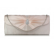 Psaníčko Nude Sparkly Crystal Satin Clutch purse