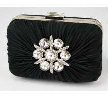 Psaníčko Black Satin Rouched Brooch Hard Case Evening Bag - černé