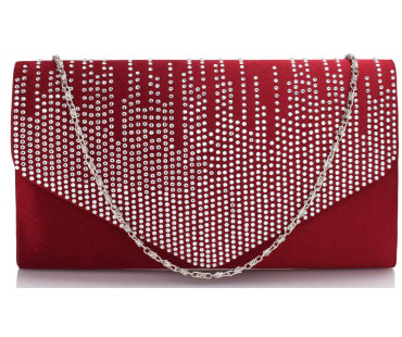 Psaníčko Red Diamante Design Evening Flap - červené