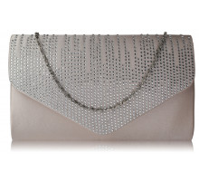 Psaníčko Nude Diamante Design Evening Flap Over Party Clutch Bag