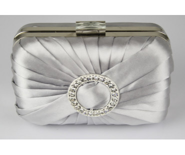 Psaníčko Silver Gorgeous Satin Rouched Brooch Hard Case Silver Evening Bag