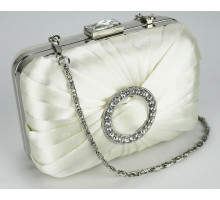 Psaníčko Ivory Gorgeous Satin Rouched Brooch Hard Case Ivory Evening Bag