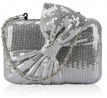 Psaníčko Silver Gorgeous Sequin Bow Box Clutch