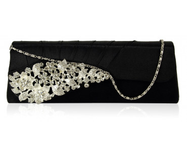 Psaníčko Black Ruched Satin Clutch With Crystal Flower