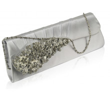 Psaníčko Silver Ruched Satin Clutch With Crystal Flower