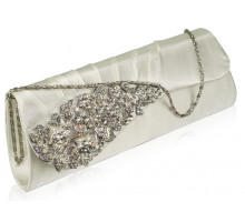 Psaníčko Ivory Ruched Satin Clutch With Crystal Flower