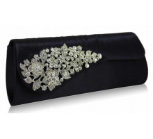 Psaníčko Navy Ruched Satin Clutch With Crystal Flower