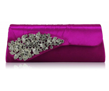 Psaníčko Purple Ruched Satin Clutch With Crystal Flower