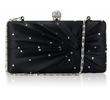 Psaníčko Black Satin Crystal Clasp Evening Evening Clutch Bag - černé