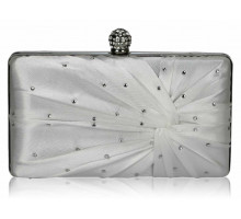 Psaníčko- Ivory Satin Crystal Clasp Evening Evening Clutch Bag