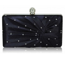 Psaníčko Navy Satin Crystal Clasp Evening Evening Clutch Bag