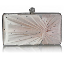 Psaníčko Nude Satin Crystal Clasp Evening Evening Clutch Bag
