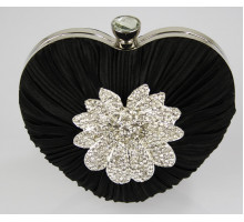 Psaníčko Black Crystal Flower Hardcase Heart Clutch Bag