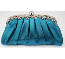 Psaníčko Teal Sparkly Crystal Satin Evening Clutch
