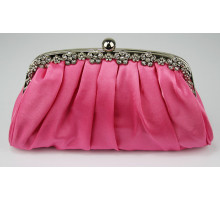 Psaníčko  Pink Sparkly Crystal Satin Evening Clutch