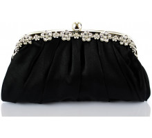 Psaníčko Black Sparkly Crystal Satin Evening Clutch - černé