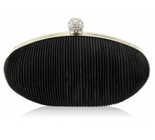 Psaníčko Black Crystal Satin Evening Clutch - černé