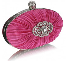 Psaníčko  Gorgeous Pink Crystal Satin Rouched Hard Case Evening Bag