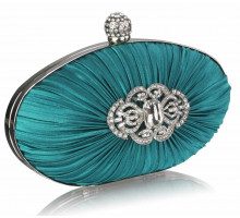Psaníčko Gorgeous Emerald Crystal Satin Rouched Hard Case  Evening Bag