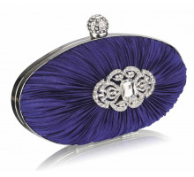 Psaníčko  Gorgeous Navy Crystal Satin Rouched Hard Case Evening Bag