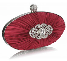 Psaníčko Gorgeous Red Crystal Satin Rouched Hard Case  Evening Bag