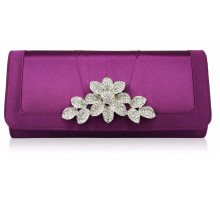 Barva Purple Crystal Flower Evening Clutch Bag