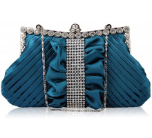 Psaníčko  Teal Ruched Satin Clutch With Crystal Trim