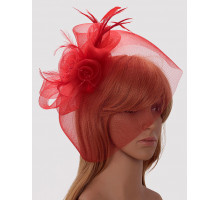Ozdoba Red Mesh Hat Feather Fascinator