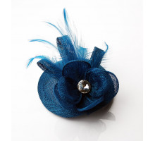 Ozdoba do vlasů Teal Feather and Flower Fascinator with Clip