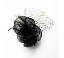 Ozdoba do vlasů Black Feather & Mesh Fascinator